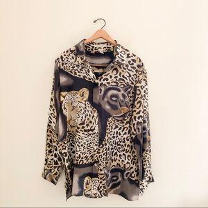 Vintage Spiegel Silk Leopard Animal Print Blouse
